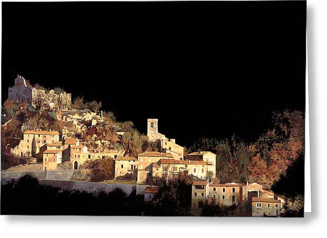 Black Light Paintings Greeting Cards - Paesaggio Scuro Greeting Card by Guido Borelli