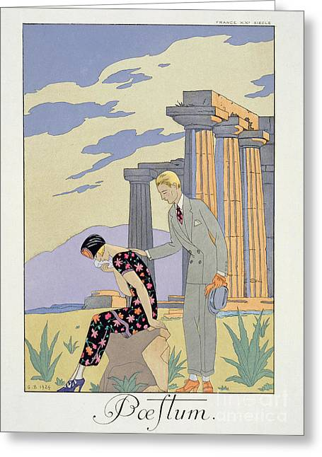 Console Greeting Cards - Paestum Greeting Card by Georges Barbier
