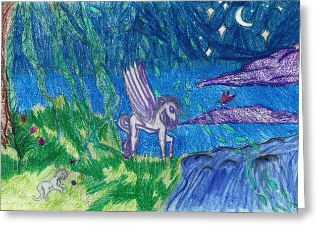 Fantasy Creature Greeting Cards - Creatures of the Night Greeting Card by Kd Neeley