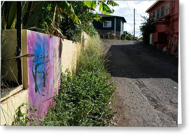 Matt Radcliffe Greeting Cards - Paia Alleyway Greeting Card by Matt Radcliffe