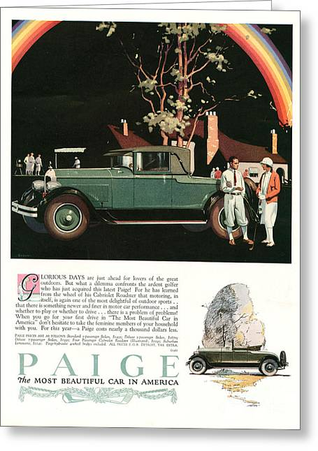 American Automobiles Greeting Cards - Paige 1927 1920s Usa Cc Cars Rainbows Greeting Card by The Advertising Archives