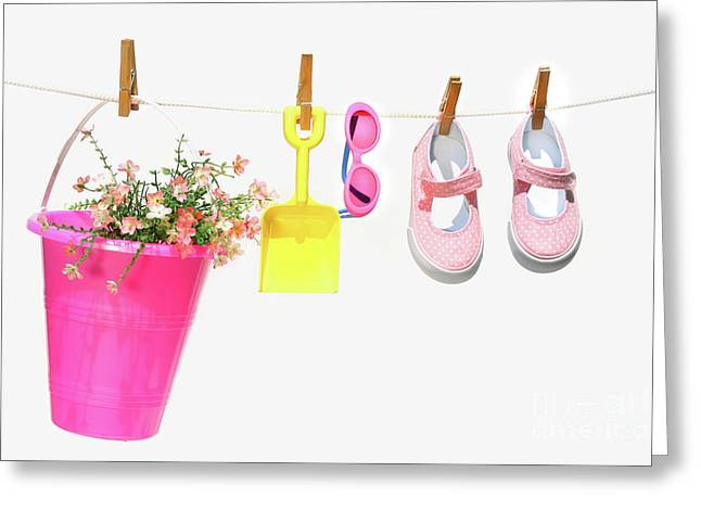 Pail And Shoes On White Greeting Card by Sandra Cunningham