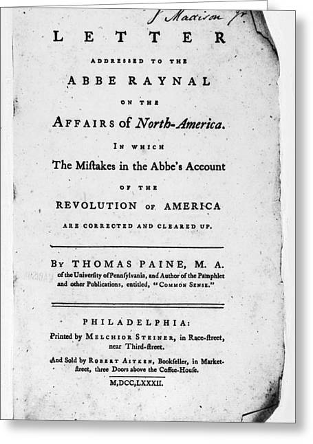 Book Title Greeting Cards - Paine: Abbe Raynal, 1782 Greeting Card by Granger