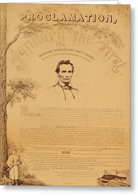 Proclamation Greeting Cards - Paine copy of the Emancipation Proclamation Greeting Card by Celestial Images