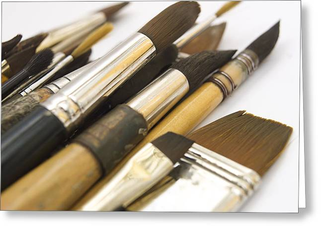 Artist Photographs Greeting Cards - Paint brushes Greeting Card by Bernard Jaubert