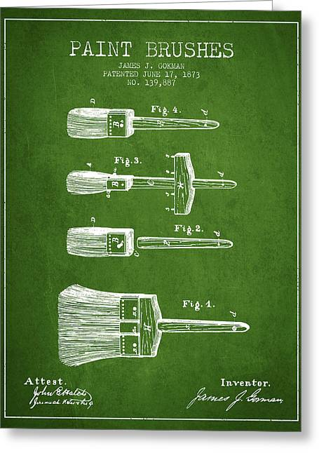 Paint Brushes Patent From 1873 - Green Greeting Card by Aged Pixel