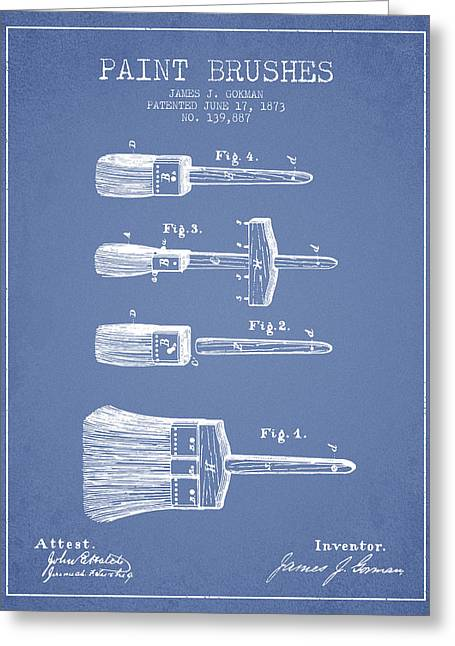 Paint Brushes Patent From 1873 - Light Blue Greeting Card by Aged Pixel
