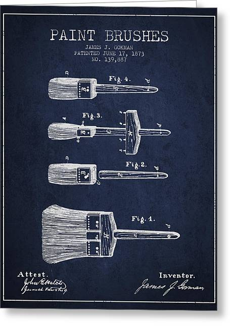 Paint Brushes Patent From 1873 - Navy Blue Greeting Card by Aged Pixel