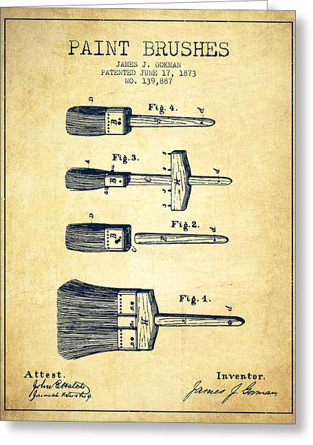 Vintage Painter Greeting Cards - Paint brushes Patent from 1873 - Vintage Greeting Card by Aged Pixel