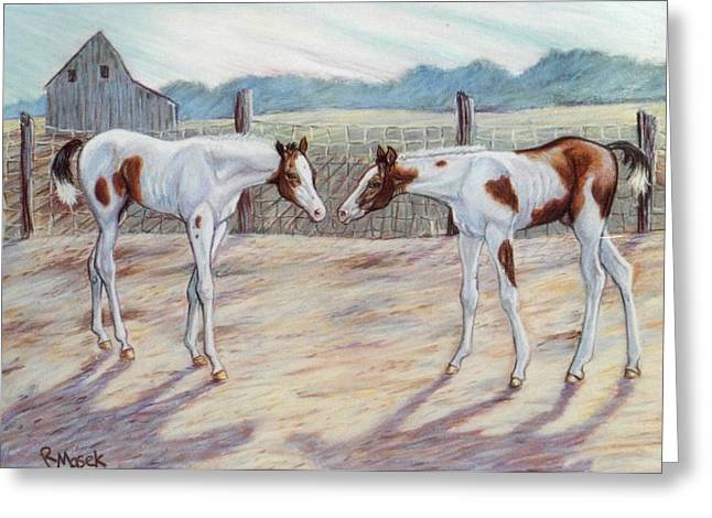 Paint Pastels Greeting Cards - Paint Foals Greeting Card by Robin Reed Masek