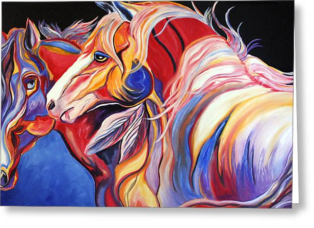 Abstract Equine Greeting Cards - Paint Horse Colorful Spirits Greeting Card by Jennifer Morrison Godshalk