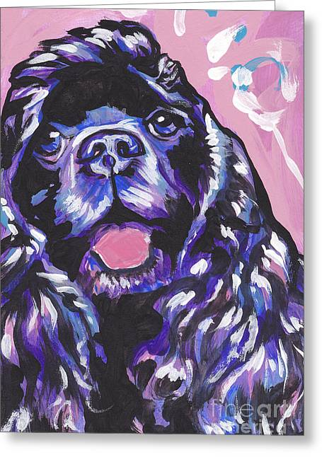 Cocker Spaniel Paintings Greeting Cards - Paint it Black Greeting Card by Lea
