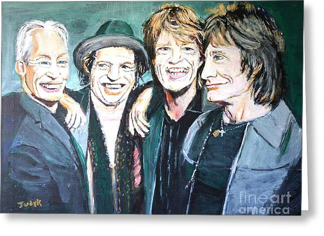 Rock Stars Greeting Cards - Paint it Black Greeting Card by Judy Kay
