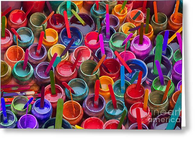 Vibrance Greeting Cards - Paint Jars Popsicle Stix Greeting Card by Alixandra Mullins