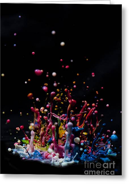 Fluorescent Yellow Greeting Cards - Paint Sculpture Greeting Card by Guy Viner