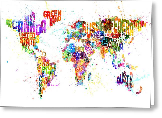 Paint Splashes Text Map Of The World Greeting Card by Michael Tompsett