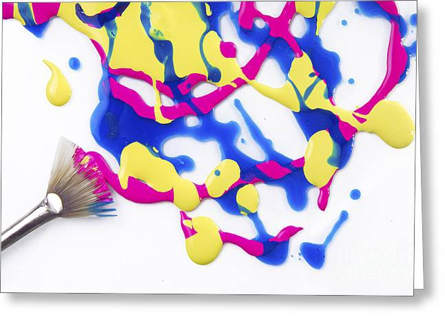 Messy Photographs Greeting Cards - Paint Splatter Greeting Card by Diane Diederich