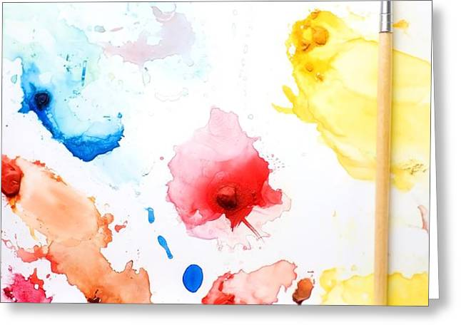 Paint Splatters And Paint Brush Greeting Card by Chris Knorr
