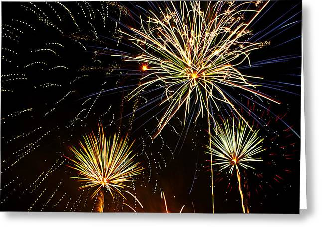 4th July Photographs Greeting Cards - Paint the Sky with Fireworks  Greeting Card by Saija  Lehtonen