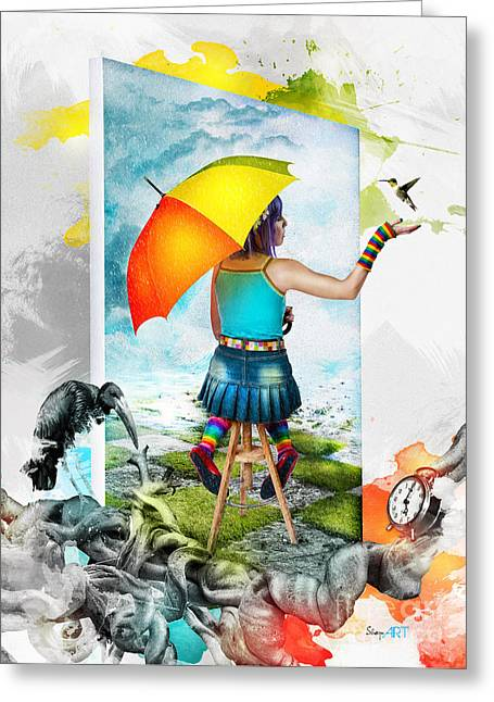 Puddle Paint Greeting Cards - Paint Your Life Greeting Card by Donika Nikova