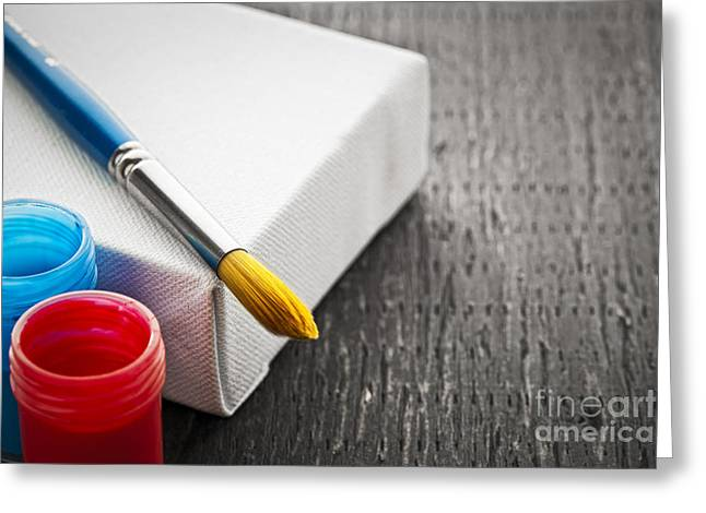 Artist Photographs Greeting Cards - Paintbrush on canvas Greeting Card by Elena Elisseeva