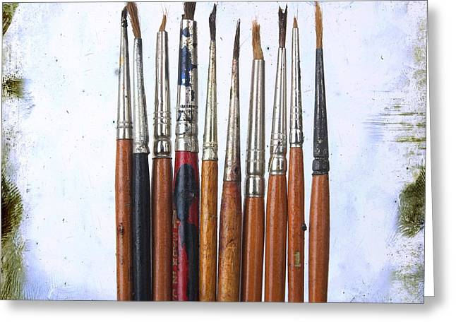 Artist Photographs Greeting Cards - Paintbrushes Greeting Card by Bernard Jaubert