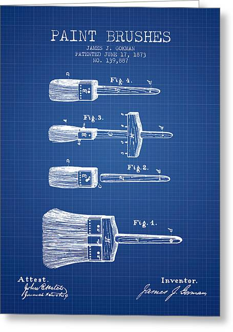Vintage Painter Greeting Cards - Paintbrushes Patent from 1873 - Blueprint Greeting Card by Aged Pixel