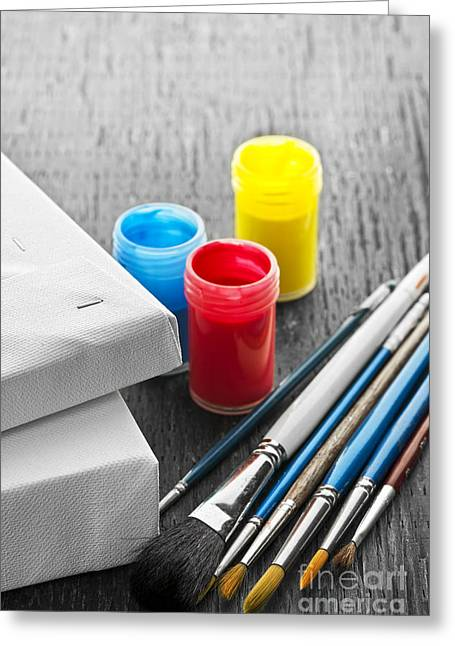 Bristles Greeting Cards - Paintbrushes with canvas Greeting Card by Elena Elisseeva