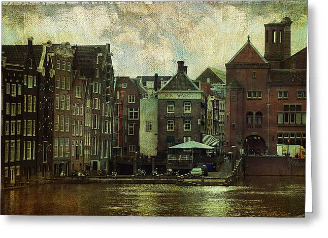 Bike Trip Greeting Cards - Painted Amsterdam Greeting Card by Jenny Rainbow