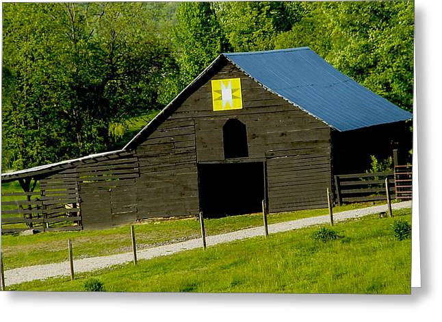 Painted Barn Quilt Greeting Cards - Painted Barn Quilt two Greeting Card by Robert J Andler