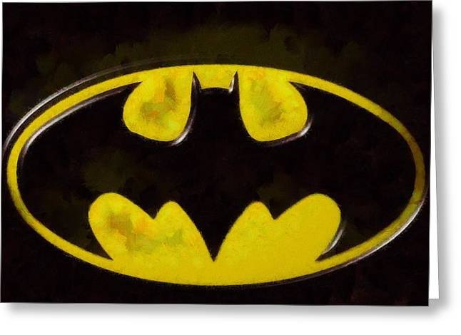 Courage Mixed Media Greeting Cards - Painted Batman Logo Greeting Card by Dan Sproul