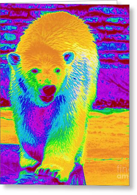 Struckle Digital Art Greeting Cards - Painted Bear Cub Greeting Card by Kathleen Struckle