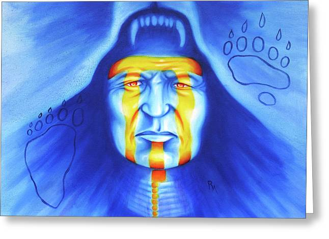Native American Spirit Portrait Greeting Cards - Painted Bear Greeting Card by Robert Martinez