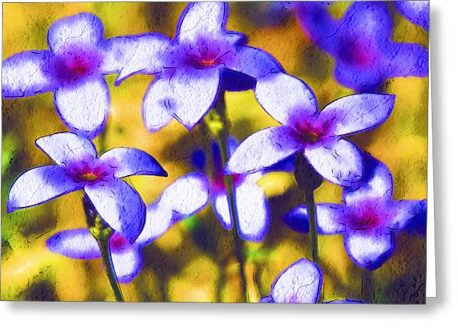 Painted Bluets Greeting Card by Kathy Clark