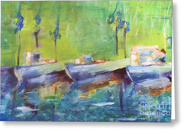 Recently Sold -  - Ocean. Reflection Greeting Cards - Painted Boats Greeting Card by Laura L Leatherwood