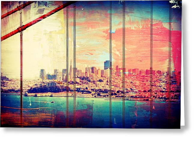San Francisco Bay Greeting Cards - Painted Bridge View Greeting Card by Ellen and Udo Klinkel