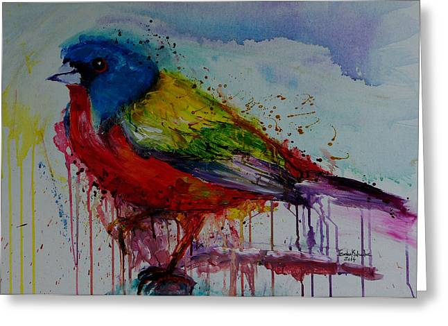 Tribute Drawings Greeting Cards - Painted Bunting Greeting Card by Isabel Salvador