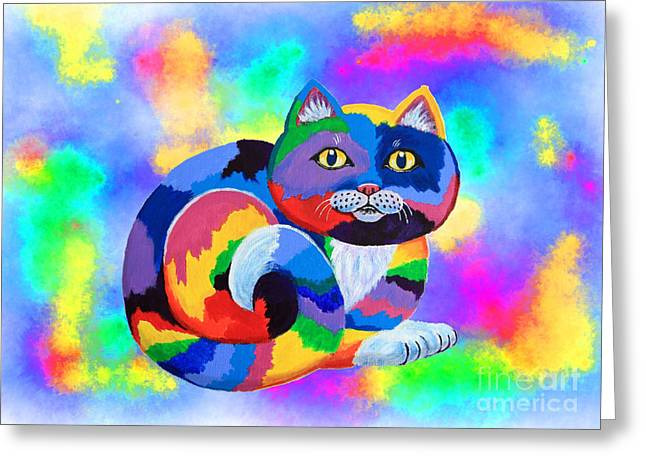Painted Cat Greeting Cards - Painted Cat Greeting Card by Nick Gustafson