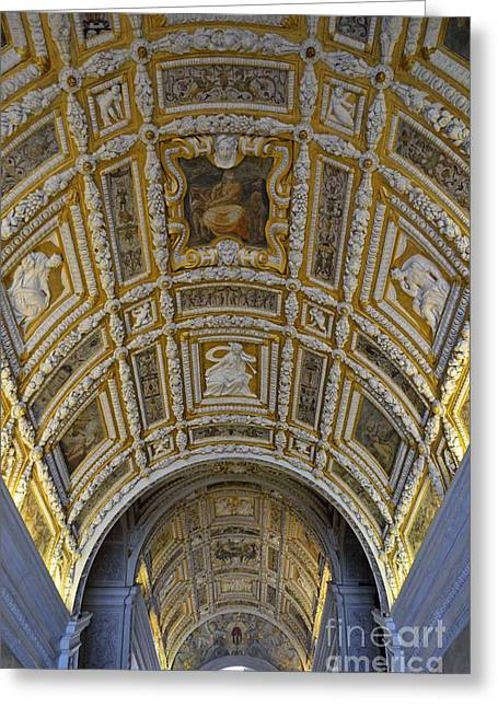 Palace Ducal Greeting Cards - Painted ceiling of staircase in Doges Palace Greeting Card by Sami Sarkis