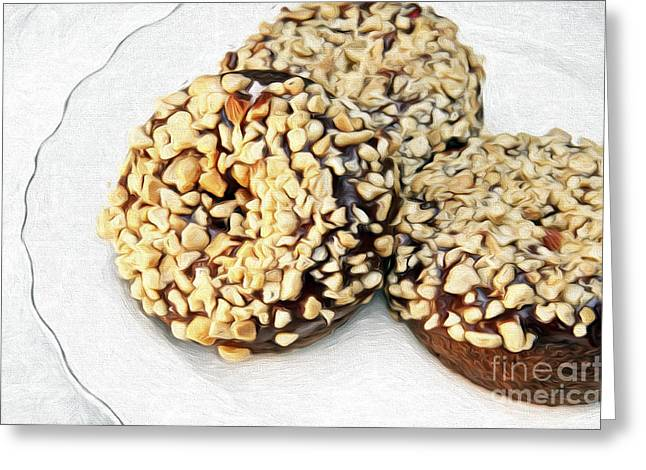 Nuts Mixed Media Greeting Cards - Painted Chocolate Fudge Nut Donuts Greeting Card by Andee Design