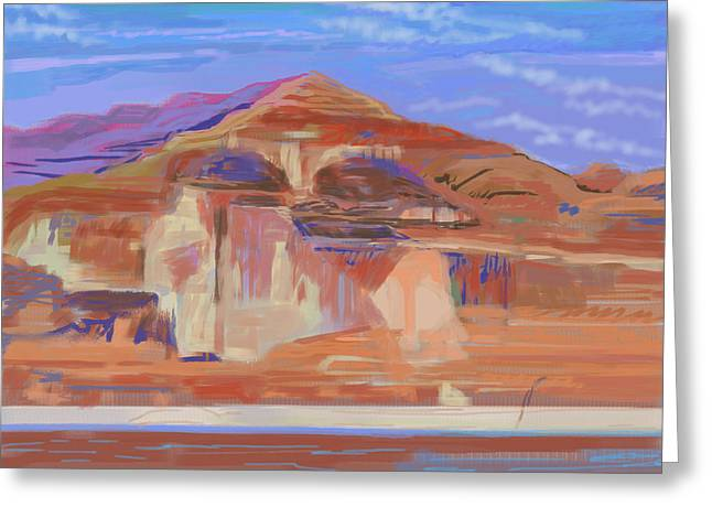 Cliffs Photographs Greeting Cards - Painted Cliffs, Lake Powell Computer Art Greeting Card by Howard Ganz