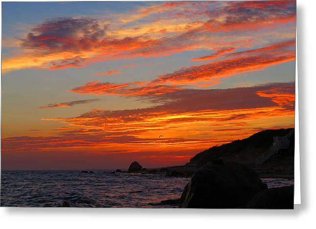 East Dennis Greeting Cards - Painted Clouds Sunrise Greeting Card by Dianne Cowen