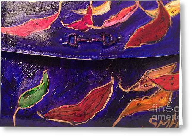 Evening Wear Paintings Greeting Cards - Painted Clutch Purse Titled Fallen Into Place Greeting Card by Sherry Harradence