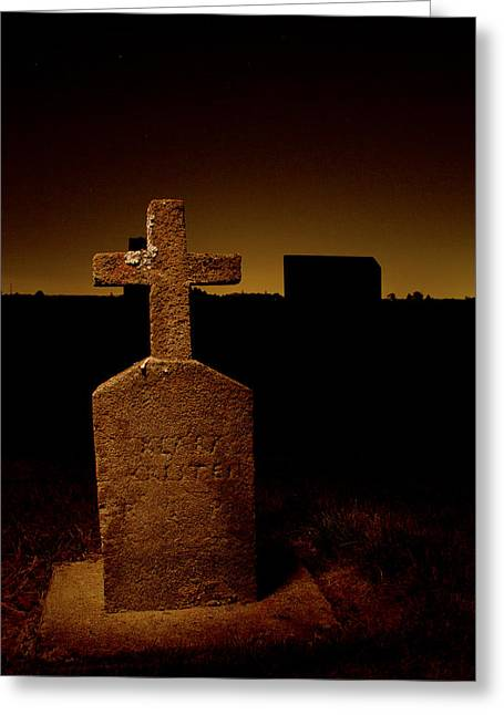 Final Resting Place Greeting Cards - Painted Cross in Graveyard Greeting Card by Jean Noren