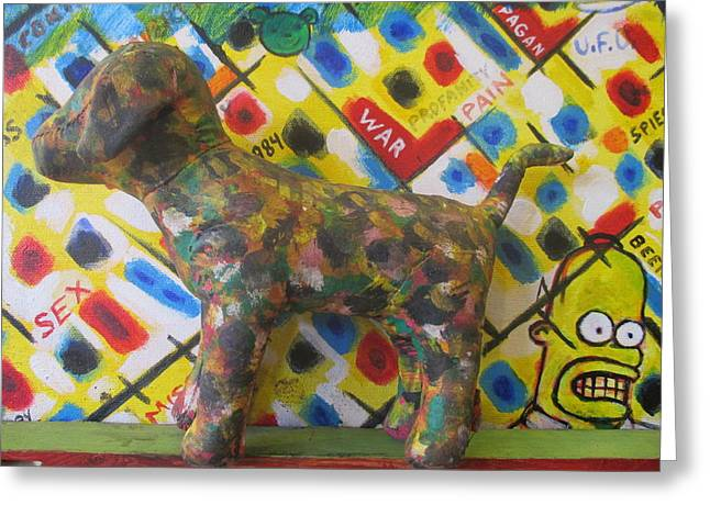 Toy Dogs Mixed Media Greeting Cards - Painted Dog with Homer in the background Greeting Card by David Lovins