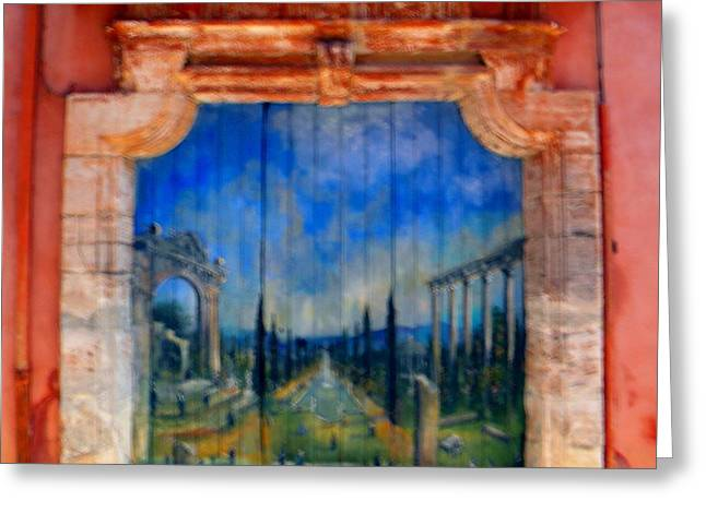 France Doors Digital Art Greeting Cards - Painted door in Roussillon Greeting Card by Manuela Constantin