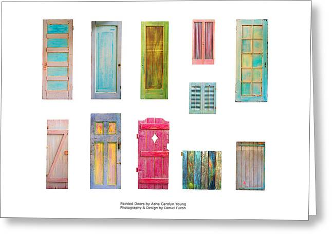 Best Sellers -  - Wooden Sculpture Greeting Cards - Painted Doors and Window Panes Greeting Card by Asha Carolyn Young and Daniel Furon