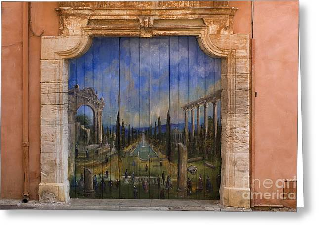 French Doors Greeting Cards - Painted Doorway, France Greeting Card by John Shaw