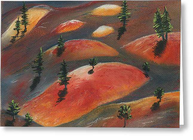 Surreal Landscape Pastels Greeting Cards - Painted Dunes Greeting Card by Anastasiya Malakhova