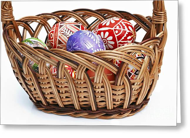 Pannier Greeting Cards - painted Easter Eggs in wicker basket Greeting Card by Michal Boubin
